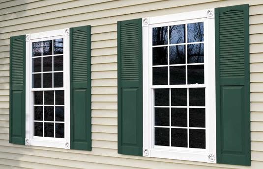 green vinyl shutters